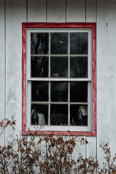 Window on the Copper Fox Antique store.