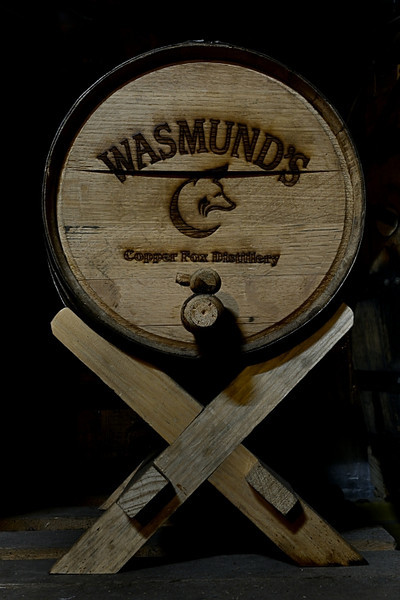 Small wooden keg in the Copper Fox Distillery.