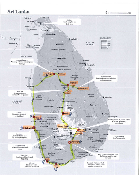 Map of my two-week itinerary in Sri Lanka in July 2015. The route starts from Negambo, follows the yellow line in the directions of the arrows and ends in Colombo, the capital. Each red spot is an overnight location with numbers in circles indicating nights spent. It proves a reasonable plan with an opportunity to form good impressions of different regtions and aspects of the country withouth having to rush too much.