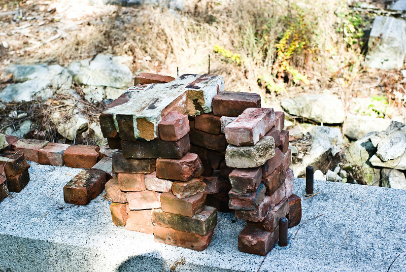 More bricks gleaned from the cellar hole.