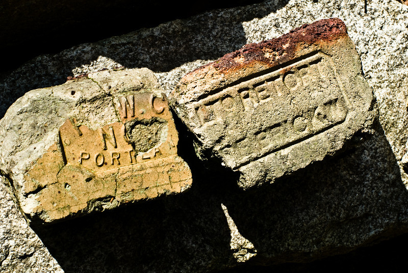 Bricks recovered from the factory cellar hole.