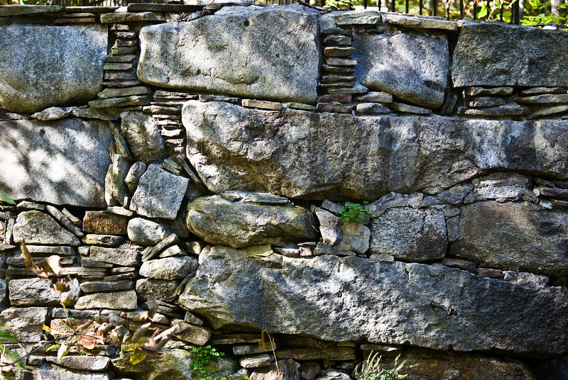 Lovely stone wall work for the dam.