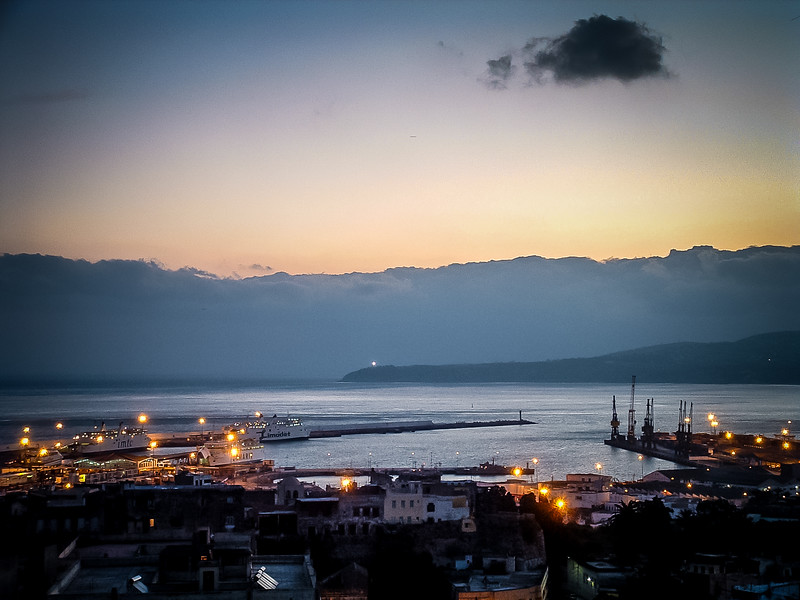 tangier harbor at dusk
