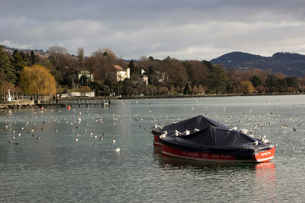 Switzerland, Lausanne, Boat in Lake SNM