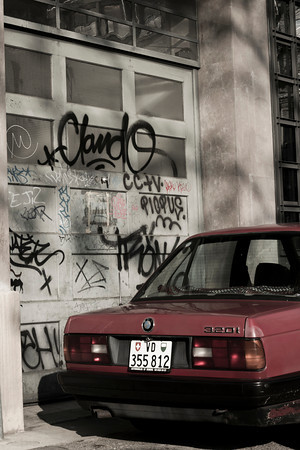 Switzerland, Lausanne, Graffiti and Car SNM