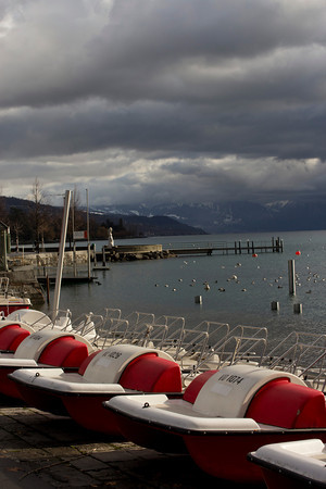 Switzerland, Lausanne, Boats at Lake SNM