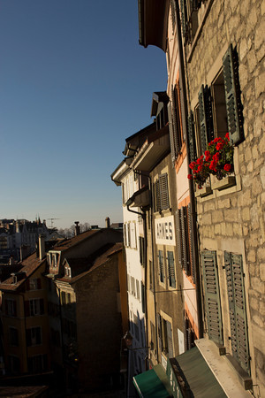 Switzerland, Lausanne, Old Town Buildings SNM