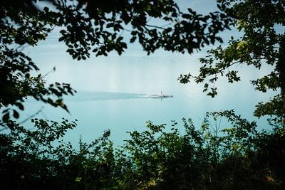 A CGN boat cruising down the lake Geneva