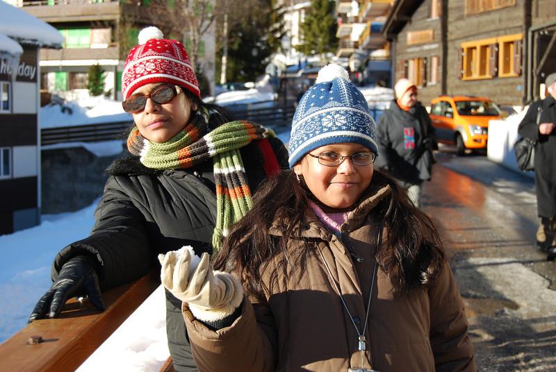 All posed: Maitreyee & Sohini on Leukerbad street