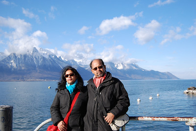 Maitreyee & Kanti on lake shore in Montreux