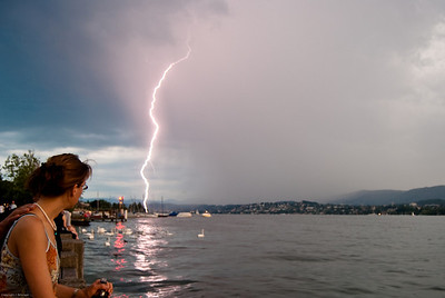 Lightning strikes Lake Zurich