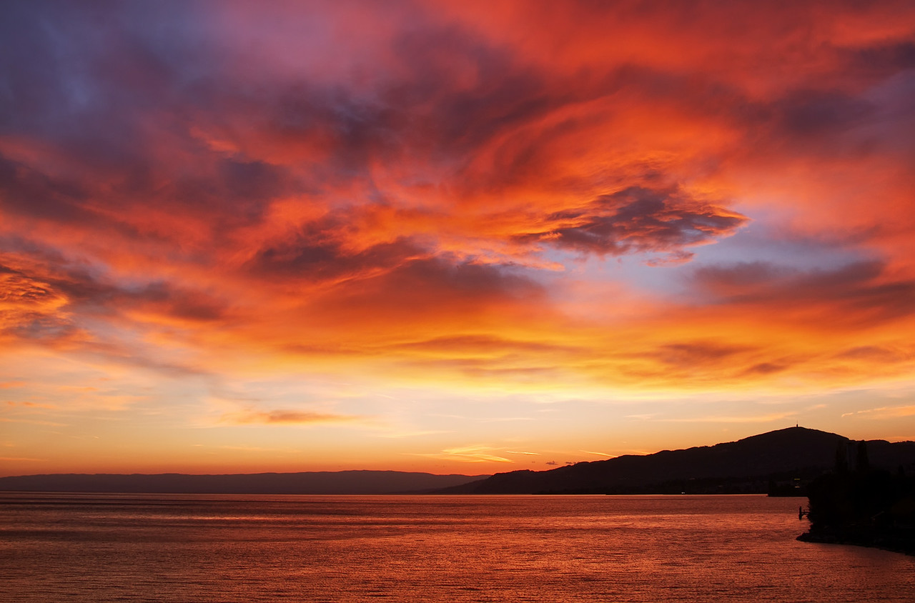 Fiery Skies over Lake Geneva