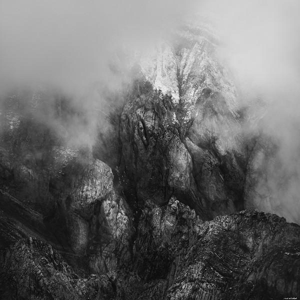 Snowy rock face
