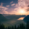 Sunset over the lake Lucerne
