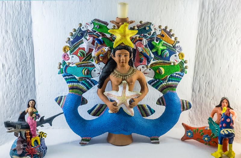 Mayan-inspired mermaid, Xcaret Park,Riviera Maya/Cancun