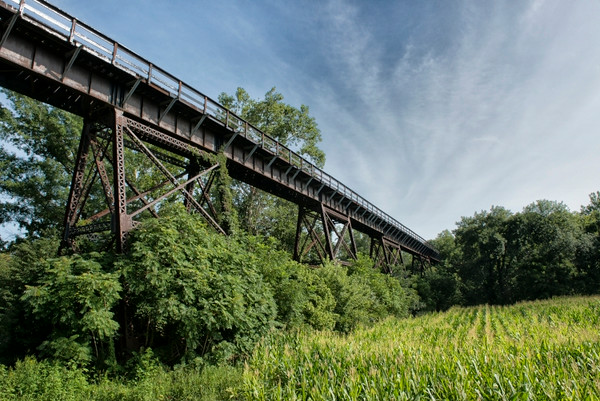 The Keymar Trestle spans a cornfield and Little Pipe Creek.  I actually walked across it.