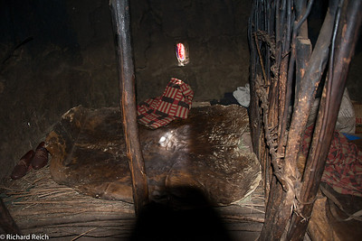Inside a Massai hut