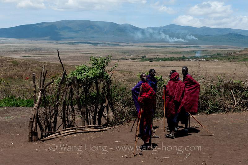 Maasai village in Ngorongoro Conservation Area, Tanzania 恩戈罗恩戈罗保护区的马赛人部落