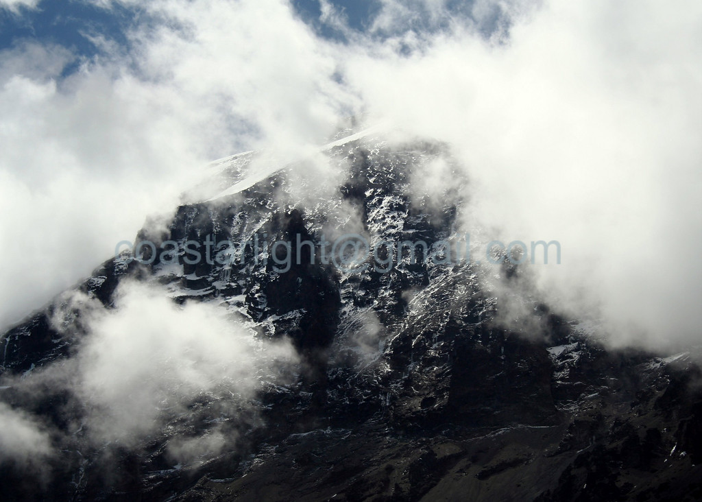 Kili summit with clouds
