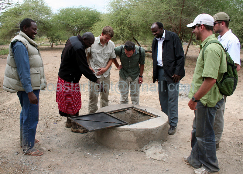 The Maasai chairman shows a hand dug well