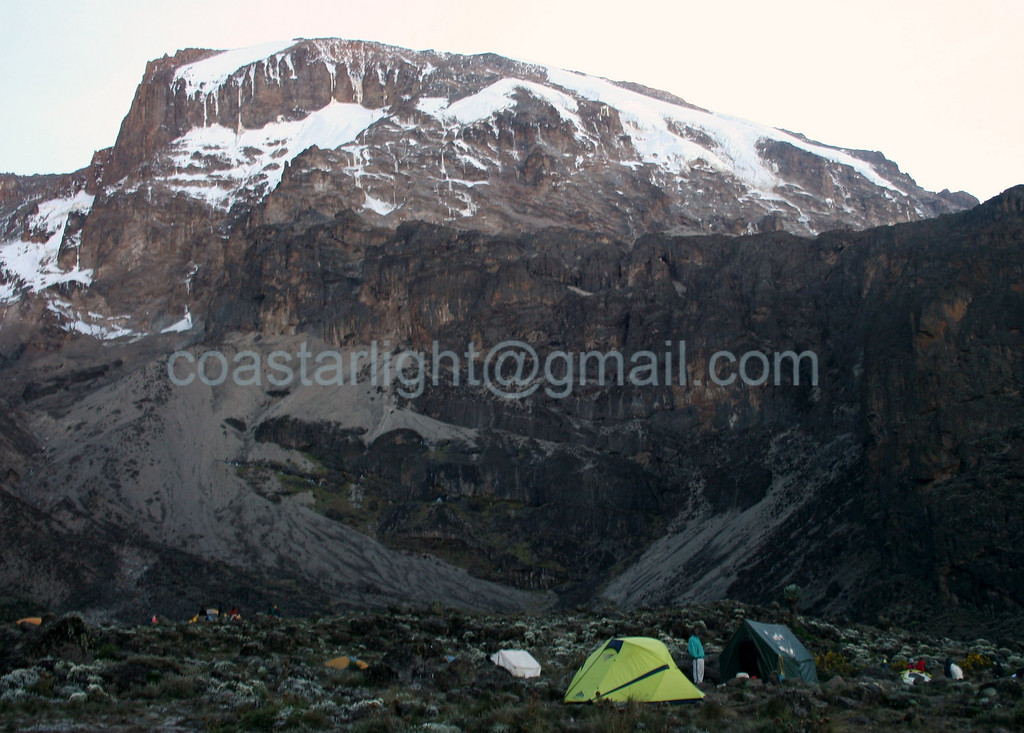 View of Kilimanjaro summit from Barranco Camp