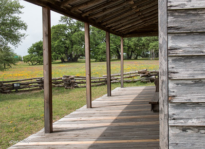 This is a view through the porch of a restored old homestead near Independence Texas.