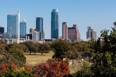 Downtown Austin skyline from Zilker Botanical Garden