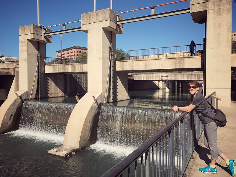Dam at the end of the riverwalk in San Antonio