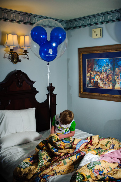 Vincent with balloon in our room.