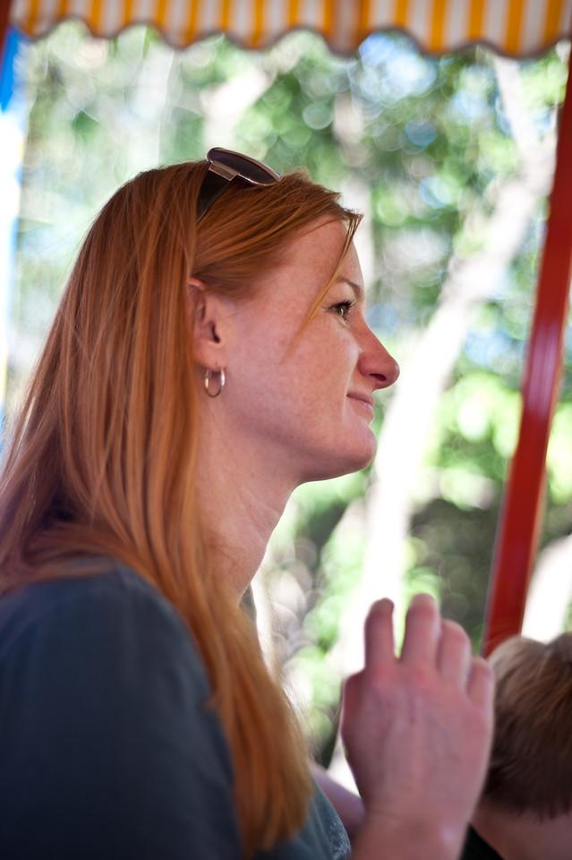 Marisa enjoying a train ride around the Magic Kingdom.