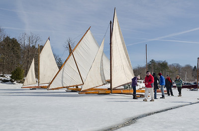 Ice Boats on the Hudson River.