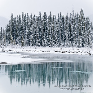Winter reflections in the not-quite-frozen North Saskatchewan River, Banff National Park.