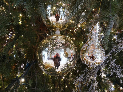 """Tree ornaments and a Christmas """"ham""""."""
