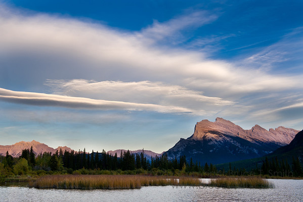 Lenticular clouds just before sunset near Rundle Mountain, Banff National Park