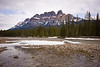 Castle Mountain and Bow River in early spring.