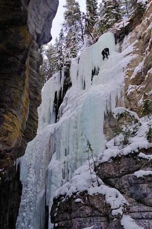Ice climbing in Maligne Canyon near Jasper, Alberta.