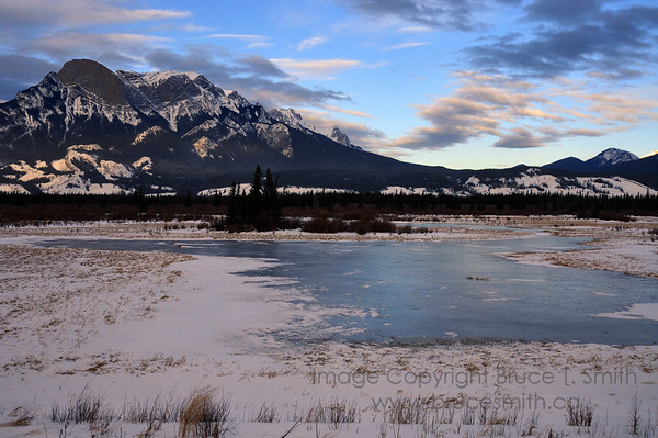 Winter scene of the Rocky Mountains near Jasper, Alberta