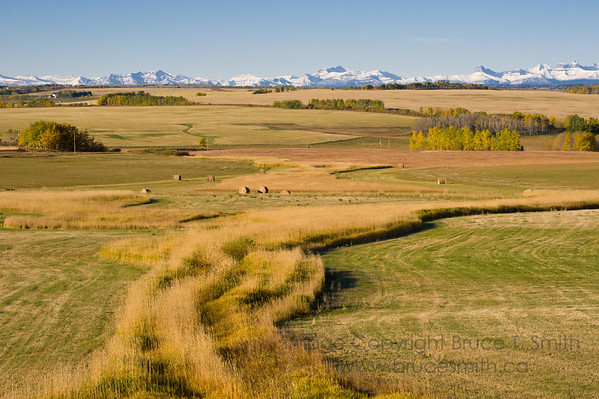 View of the prairies and Rocky Mountains in autumn