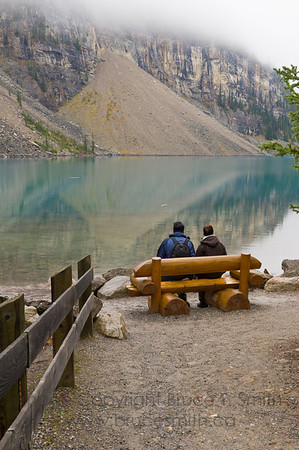 Looking out at Moraine Lake, Banff National Park