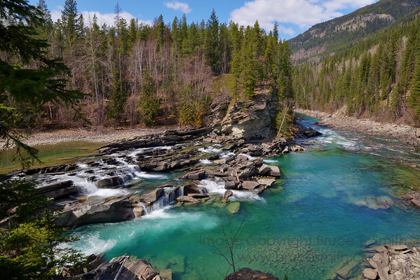 Rearguard Falls on the upper Fraser River in the springtime