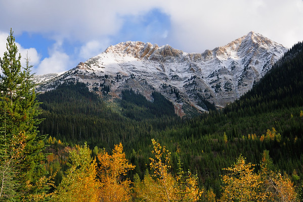 Fresh snow in the Rocky Mountains in autumn.