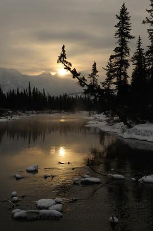 Sunrise near Jasper, Alberta.