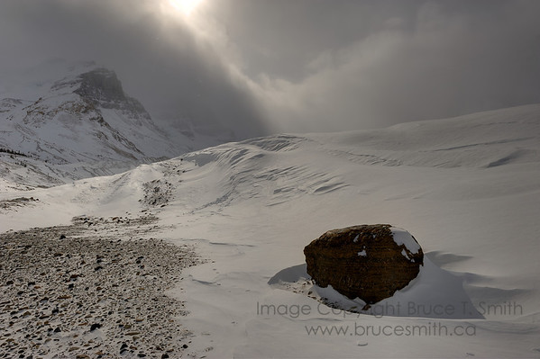 Moody skies over the Columbia Icefields in winter.