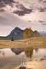 Autumn sunrise reflection, Preacher's Point, Abraham Lake, Alberta
