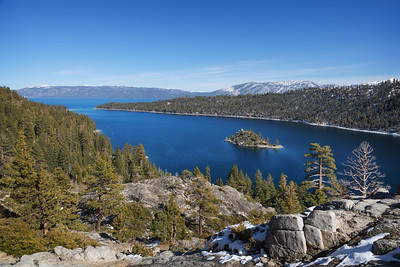 Emerald Bay with far too little snow