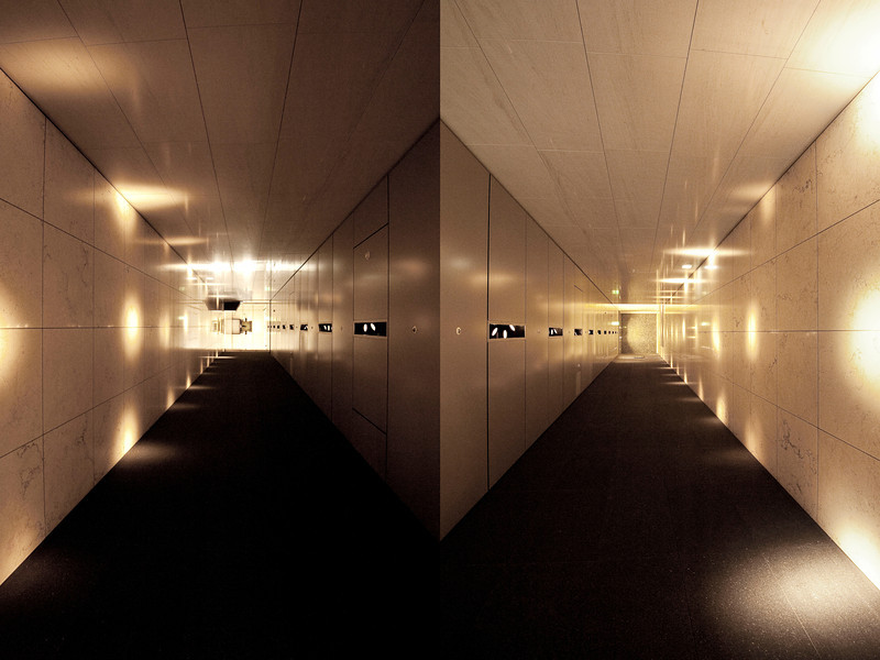 Sideways symmetry<br /> <br /> Composite made of two shots taken from opposite sides of the hallway.<br /> <br /> Nikkor 16-35 @f8 - ISO3200