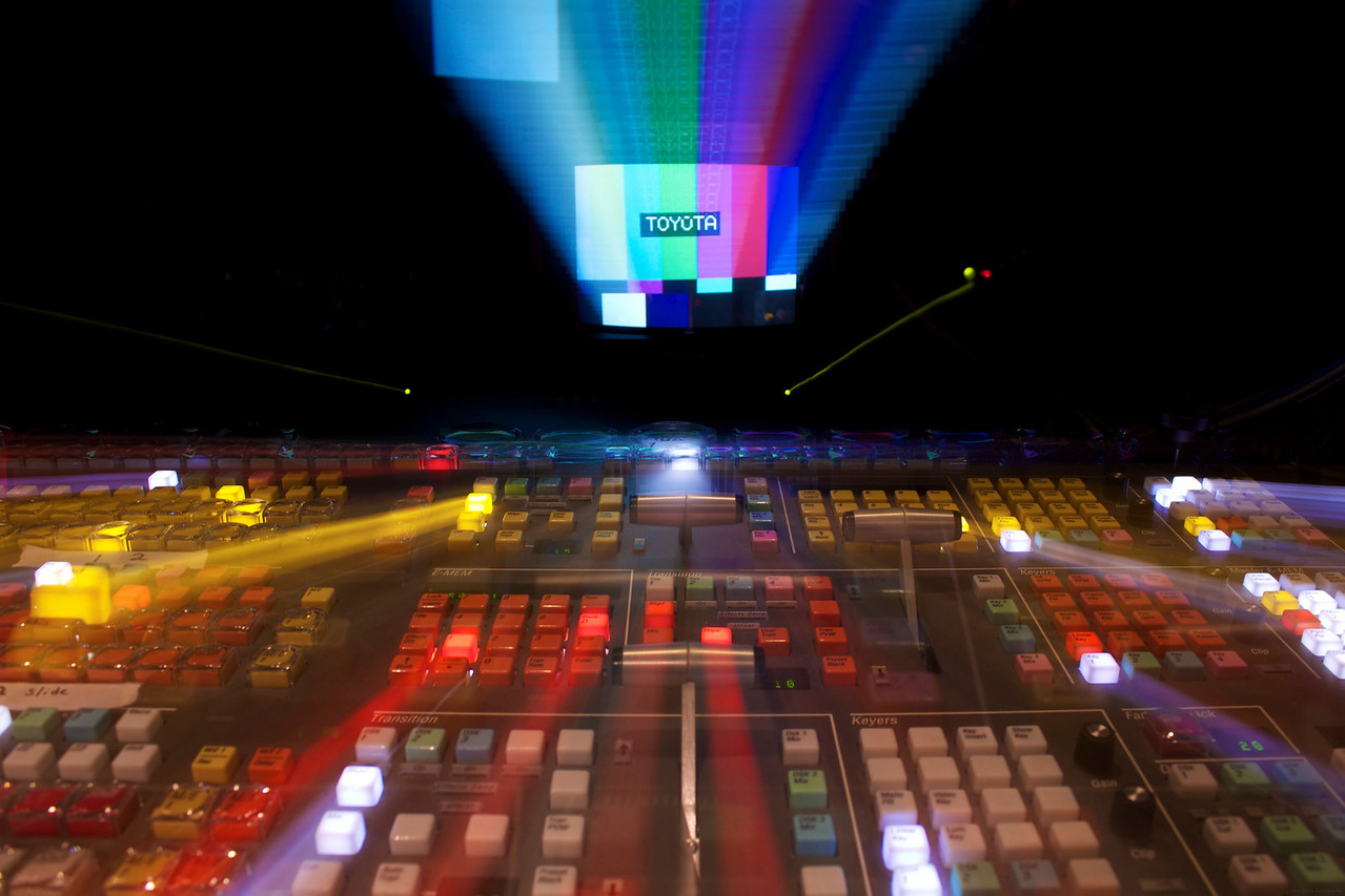Abstract shot of the Edit 1 switcher and monitor displaying color bars.