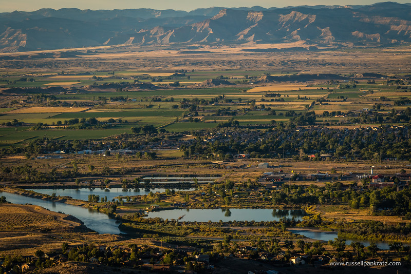 The town of Fruita, Colorado, my sister's new hometown, as viewed across the Colorado River from The Colorado Monument.