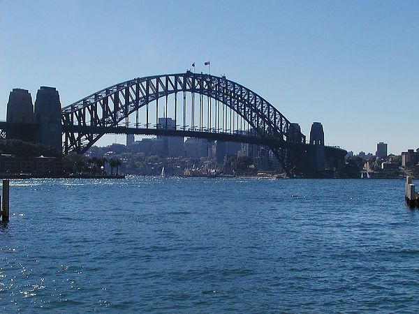 The Sydney Harbor Bridge - one of only two ways to cross from one side to the other - needless to say - traffic can be tough.  Some people walk - over the top....