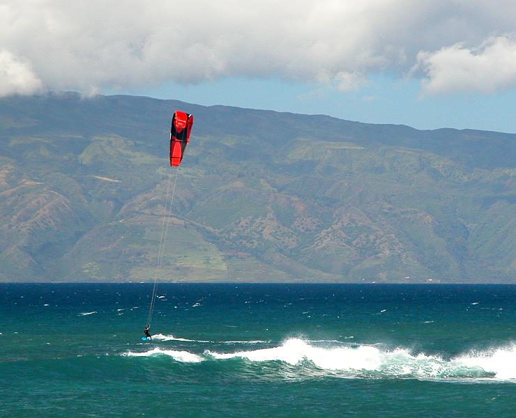 Kite surfer Kahana Beach